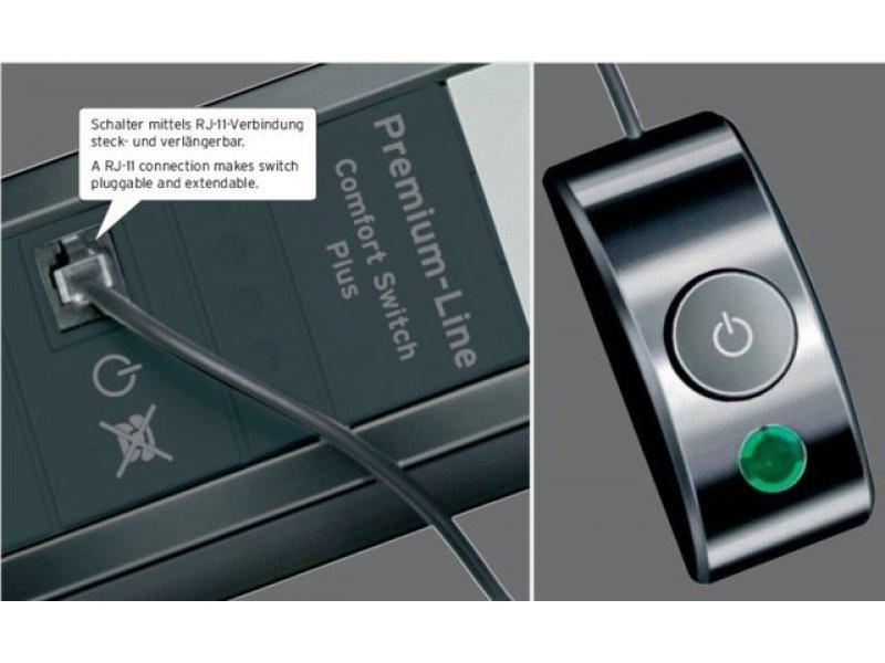 steckdosenleiste premium line 2 4fach schwarz ligrau mit. Black Bedroom Furniture Sets. Home Design Ideas
